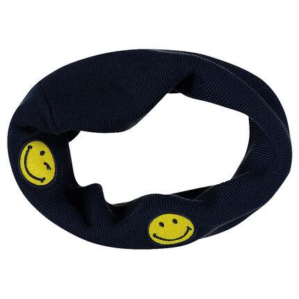 Snood en tricot côtelé avec badges ©Smiley patchés