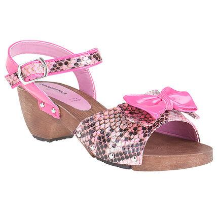 Nu-pieds rose fluo imprimés croco avec noeud fantaisie