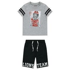Ensemble tee-shirt print lion et bermuda en molleton printé