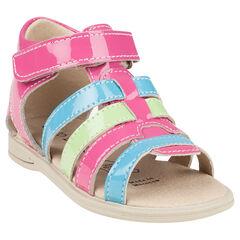 Nu-pieds multicolores en cuir vernis