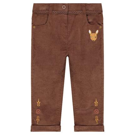 Pantalon slim en velours avec faon brodé et galon dentelle