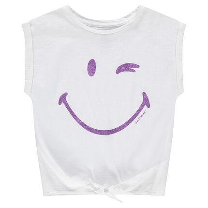 Tee-shirt manches courtes forme boîte print Smiley à paillettes