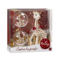 Coffret Sophie la Girafe + 2 boules de Noël