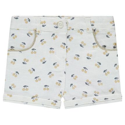 Short en coton avec cerises imprimées all-over