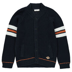 Junior - Gilet en tricot maille épaisse avec bandes contrastées en jacquard
