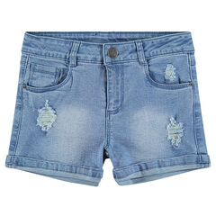Junior - Short en jeans effet used avec badge ©Smiley scintillant
