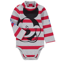 Body manches longues en jersey rayé avec print Mickey