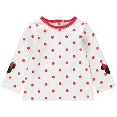 T-shirt manches longues à pois all-over et prints Minnie