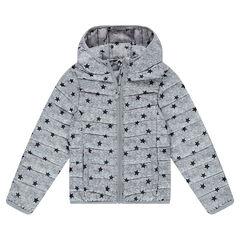 Junior - Doudoune light imperméable à capuche avec sac de rangement imprimé