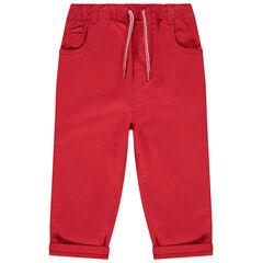 Pantalon rouge uni à taille élastiquée