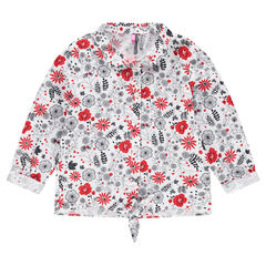 Chemise manches longues avec fleurs contrastées
