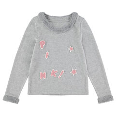 Junior - Pull en tricot chiné avec détails en fausse fourrure et lettres patchées
