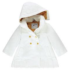 Manteau effet laineux à capuche amovible et doublure satin