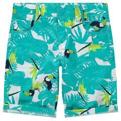 Bermuda en coton à imprimé végétal et toucans all-over
