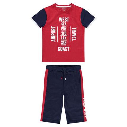 Junior - Ensemble en jersey avec tee-shirt printé et bermuda en molleton