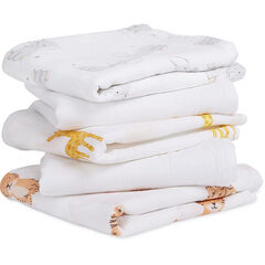 Lot de 5 langes mousseline 60x60 cm - Safari Babies