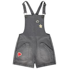 Junior - Robe salopette en jean effet used à badges et bandes argentées