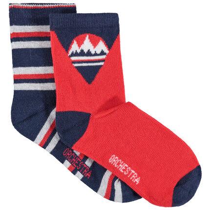 Lot de 2 paires de chaussettes assorties à montagnes et rayures en jacquard