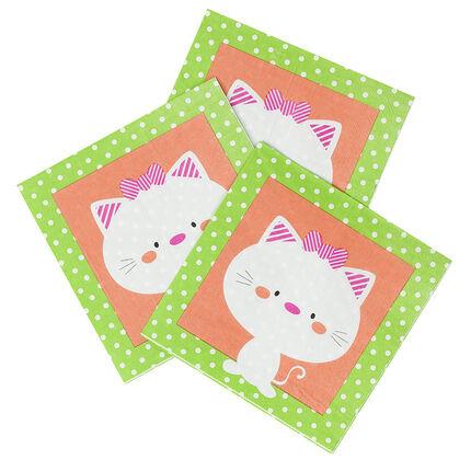 Lot de 20 serviettes d'anniversaire en papier motif chat