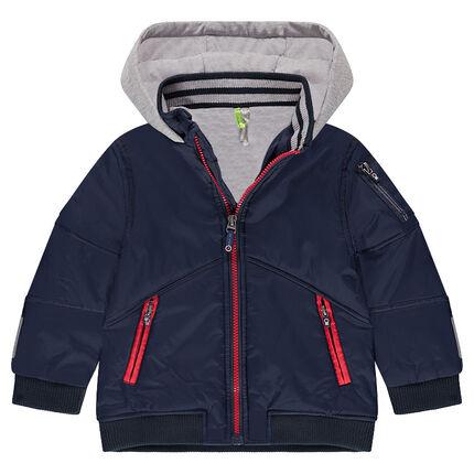 Blouson en nylon doublé jersey avec poches zippées