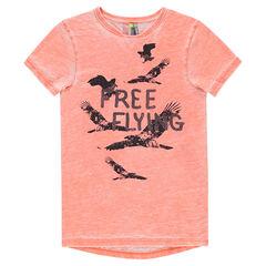 Junior- Tee-shirt manches courtes effet tie and dye avec oiseaux printés