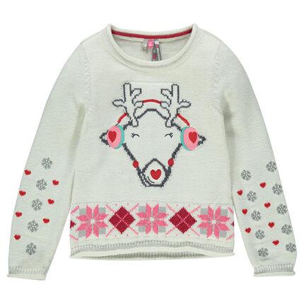Pull en tricot spécial Noël avec print jacquard et broderies