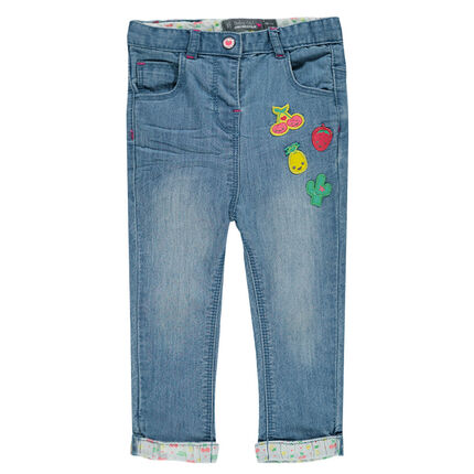 Jeans slim avec badges fruits
