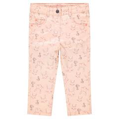 Pantalon slim effet crinkle avec lapins all-over