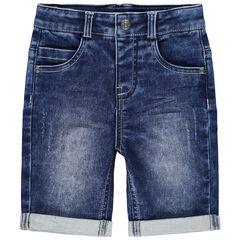 Bermuda en jean effet used à poches
