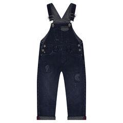 Salopette longueur 3/4 en jeans effet used