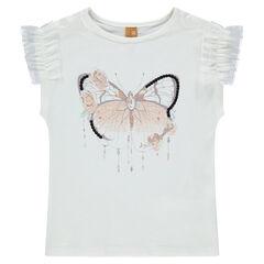 Tee-shirt manches courtes en jersey avec ruchés en tulle et papillon