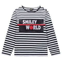 Junior - Tee-shirt manches longues rayé all-over print ©Smiley
