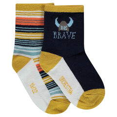 Lot de 2 paires de chaussettes assorties motif viking et rayures