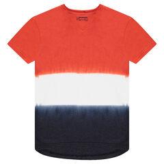 Junior - Tee-shirt manches courtes en jersey avec jeu de contrastes tie and dye