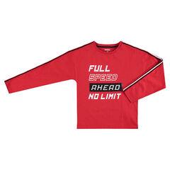 Junior - Tee-shirt manches longues en jersey avec message printé et sequins magiques