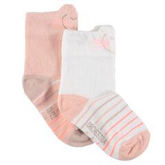 Lot de 2 paires de chaussettes assorties avec rayures jacquard et bord-côte fantaisie