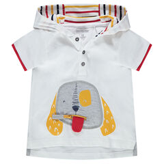 Tee-shirt manches courtes à capuche avec zip
