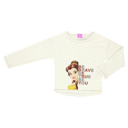 Tee-shirt manches longues en jersey slub Disney print Belle