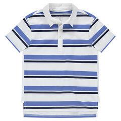 Junior - Polo manches courtes à rayures contrastées