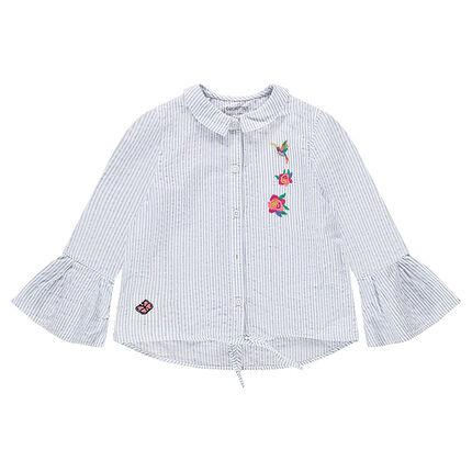 Chemise manches 3/4 en coton seersucker rayé avec fleurs brodées