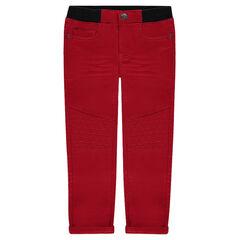 Pantalon en toile imitation molleton à taille élastiquée