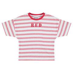 Tee-shirt manches courtes à rayures all-over avec inscription printée