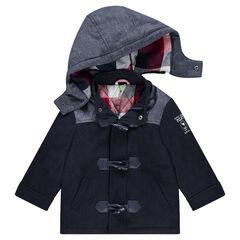 Duffle coat en polyester et laine doublé de flanelle à carreaux
