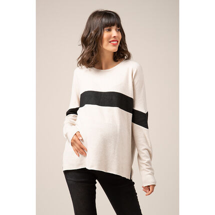 Pull de grossesse en tricot à large bande contrastée