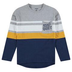 Junior - Tee-shirt manches longues avec bandes contrastées et poche