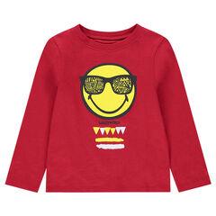 Tee-shirt manches longues rouge en jersey avec print ©Smiley