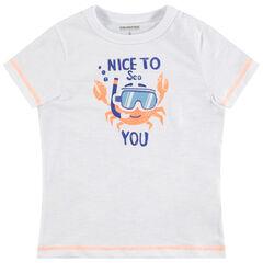 T-shirt manches courtes en jersey avec crabe printé