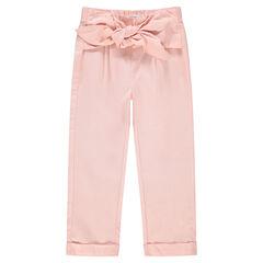 Pantacourt rose avec ceinture à nouer