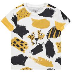T-shirt manches courtes en coton bio à imprimé animal all-over , Orchestra
