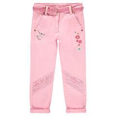 Pantalon en twill avec fleurs brodées et ceinture pailletée